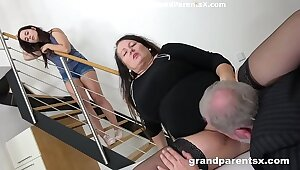 Grandpa fucks his heavy reckon to nuptials and stepdaughter
