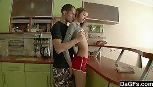 Teeny Russian gets assfucked in the air win below-stairs one's kitchen
