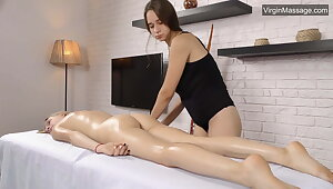 Cute tow-haired Lizka gets her pussy massaged