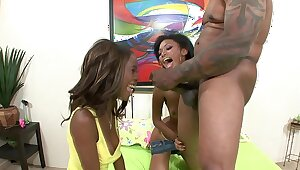 Porn superstar Mr Marcus find two acid-head fans to pound with his BBC