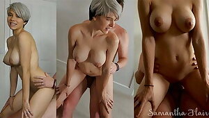 Short haired babe fucked all forgo the bedroom by daddy